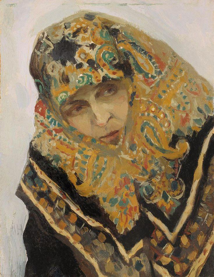 Михаил Васильевич Нестеров - Женщина в узорном платке, 1901-05