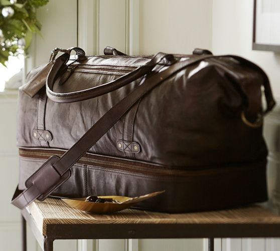 Saddle Leather Weekender Bag Pottery Barn Leather