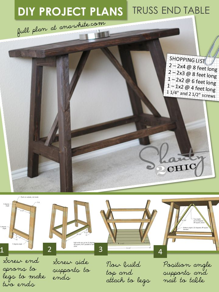 Free easy sofa table plans woodworking projects plans for Table design for project