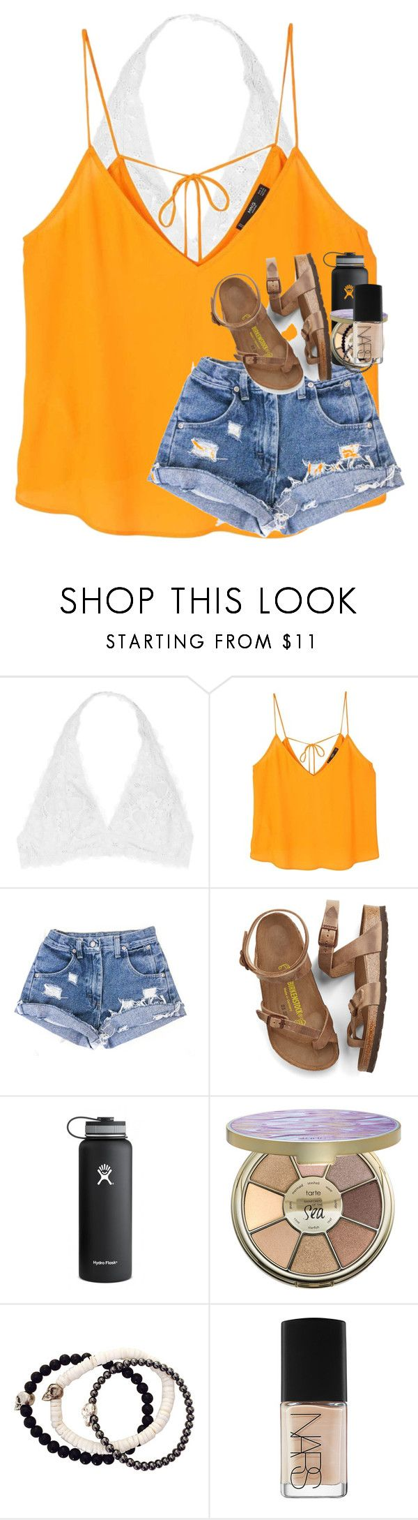 """""""you have this incredible way of making my heart happy"""" by kyliegrace ❤ liked on Polyvore featuring Youmita, MANGO, Birkenstock, Hydro Flask, tarte, Duchess of Malfi and NARS Cosmetics"""
