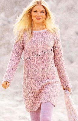 Теплые вязанные длинные свитера