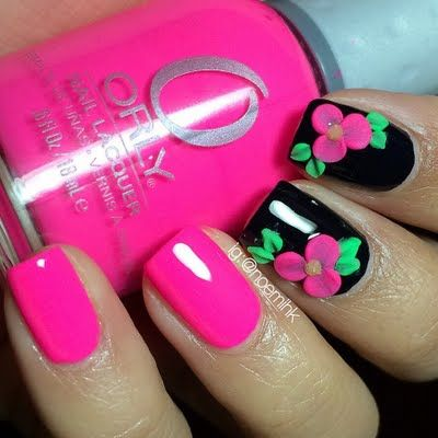 Beach cruiser Create these pretty 3D flowers as accents to your black and pink solid nails. Discover the essentials you need to achieve this gorgeous nailart.