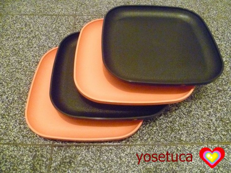 Tupperware Free Shipping New 4 Dishes Square Classic Plates Raised Edges *Detail #Tupperware