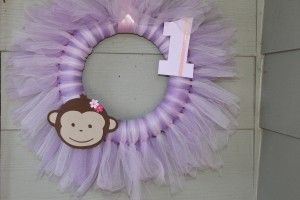 Monkey Themed Girly First Birthday Party Pink Purple Tulle Wreath