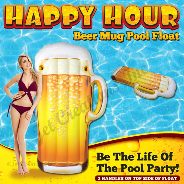 Inflatable HAPPY HOUR Beer Mug Pool Float Size: 72″ H x 38″ W x 8″ Thick (Inflated Size)   Visit our DreamHome-Shopify Online Store @ https://dreamhome77.com/