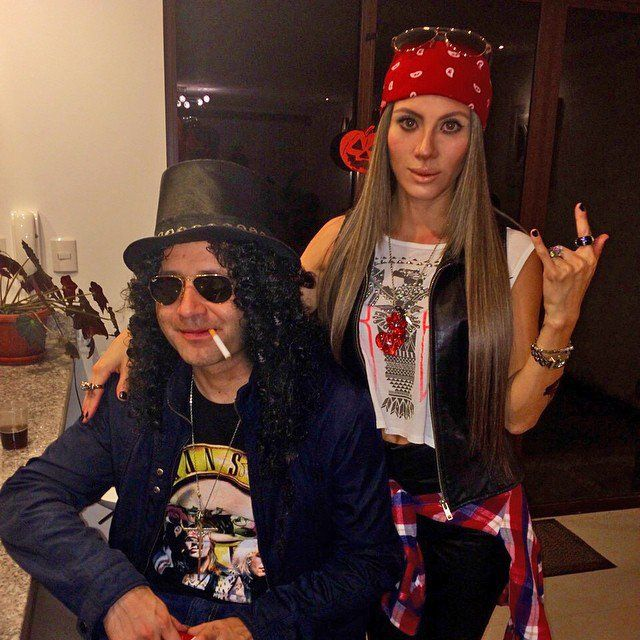 Pin for Later: 36 Real People Who Nailed Their Celebrity Halloween Costumes Slash and Axl Rose This costume requires a Guns N' Roses tee, bandana, flannel, and two badass attitudes.