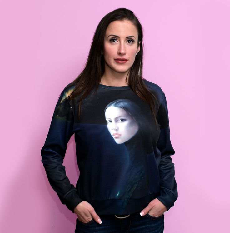 Price: 40 EURO  A dark beauty, alone among the galaxy. A sweatshirt on which there was a picture by Karol Bąk.  Karol Bąk is an artist recognized worldwide, thanks to the portraits of women of ...