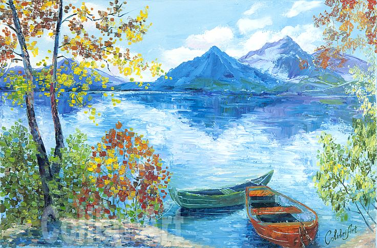 """Original Handmade Oil Painting Autumn Quay 16"""" x 24"""" Gallery Canvas by Colibri Art Materials: canvas on stretcher, oil paints, palette knife Painting  Oil  oil painting  colorful painting  original painting  painting for gift  impressionism autumn  landscape  lake  mountains  boats  beach  sky  clouds"""