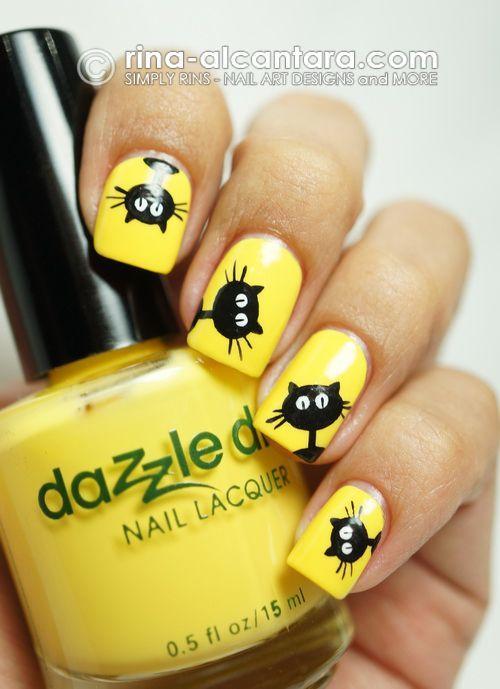 Żółte paznokcie i czarne wzorki z motywem kota!   Wzorki na Paznokcie