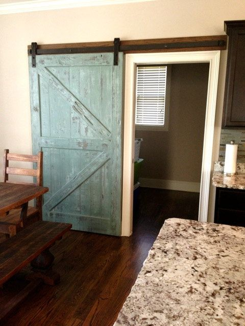 Sliding barn door reclaimed pine turquoise white distressed finish 36 x 80 decorating for Distressed wood interior doors