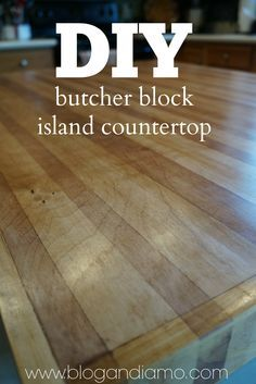DIY butcher block island countertop using a sheet of cabinet-grade plywood.