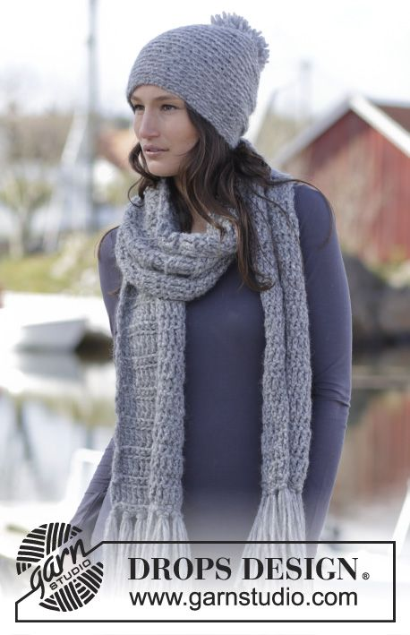 """Loch Ness Set - Set consists of: Crochet DROPS hat and scarf with double trebles and double crochet in """"Cloud"""". - Free pattern by DROPS Design"""