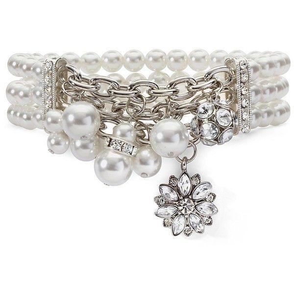 Stretch Bracelet, Vintage 3 Row Charm Crystal found on Polyvore