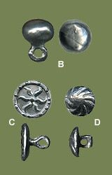13th-15th c. buttons, based on metal-detector finds at the London Museum. B - 13th-14th cent. - diameter cm. 1,2  C - 15th cent - diameter cm. 1,2  D - 14th-15th - diameter cm. 1