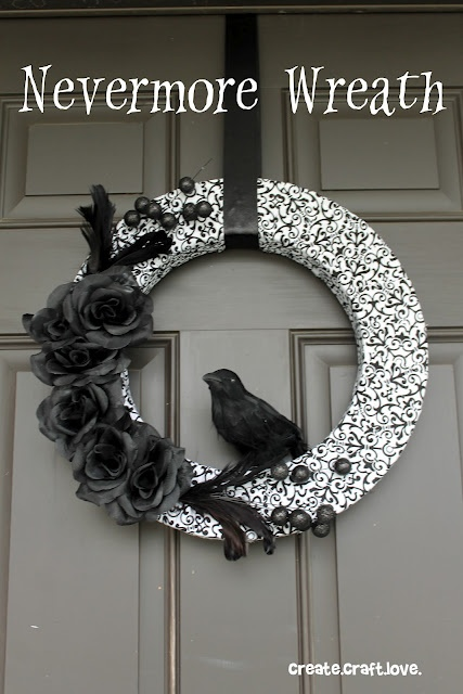 Creepy #halloween #wreath inspired by The Raven - createcraftlove.com  I'm looking for something in January after the holidays.  This looks pretty bleak.