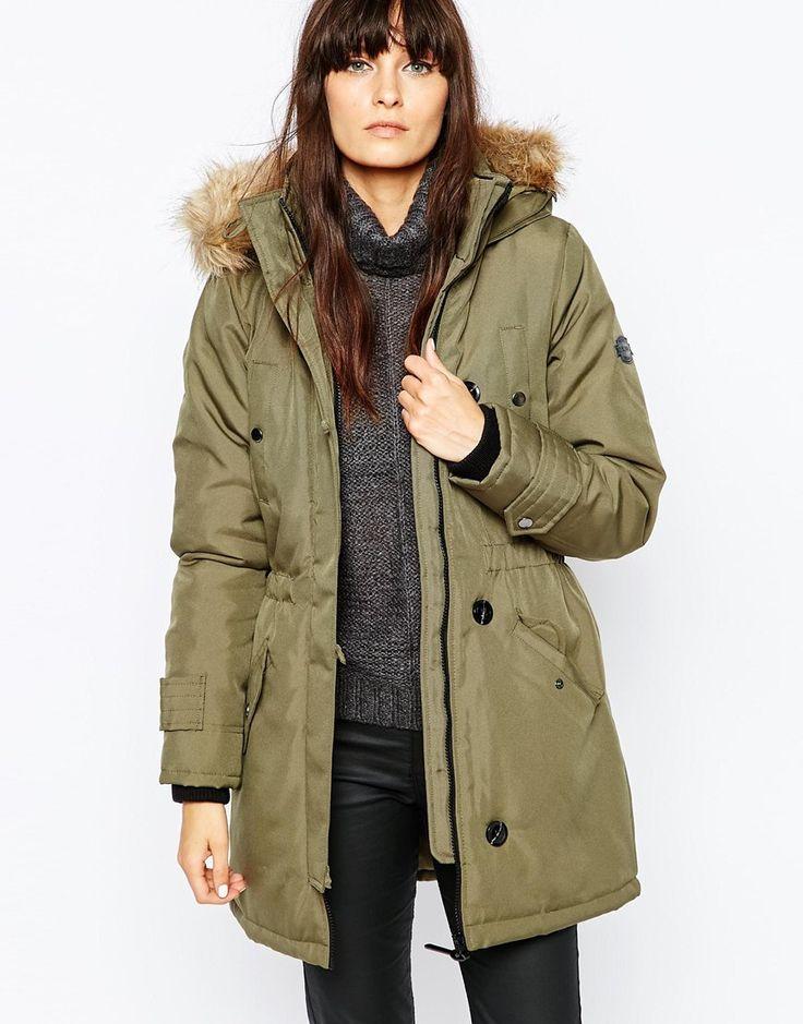 Vero Moda Parka With Faux Fur Hood