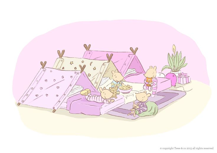 Popcorn! Pajamas! Giggles and fun! - Twee & co Illustration by Chelsa Sinclair