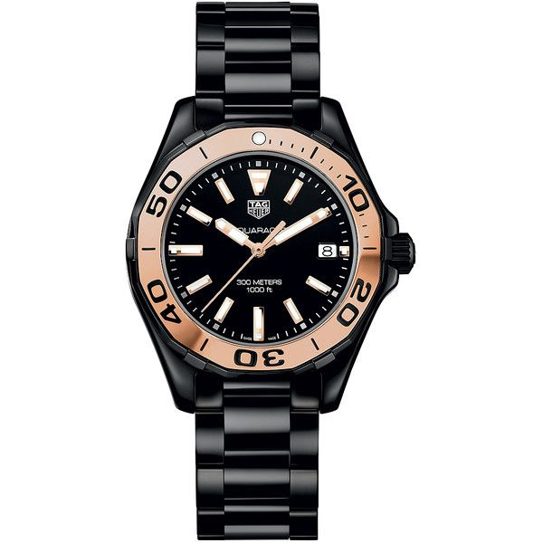 Tag Heuer Aquaracer Quartz Ladies 35mm way1355.bh0716 Watch ($2,380) ❤ liked on Polyvore featuring jewelry, watches, ceramic, engraved jewelry, black dial watches, polish jewelry, black face watches and engraved jewellery