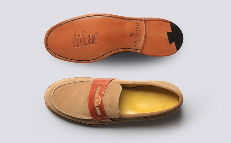 Mens Penny Loafer in Mushroom Suede with a Cognac Calf Leather Vamp and a Leather Sole | Casey – Grenson x TSPTR | Grenson Shoes - Top & Bottom Image