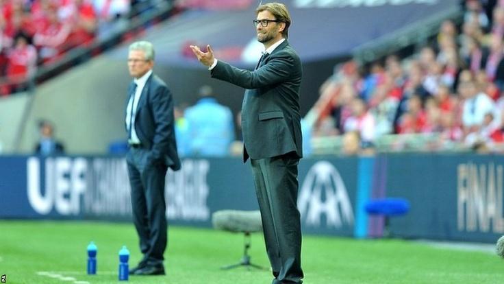 Bayern Munich boss Jupp Heynckes (left) and Borussia Dortmund coach Jurgen Klopp