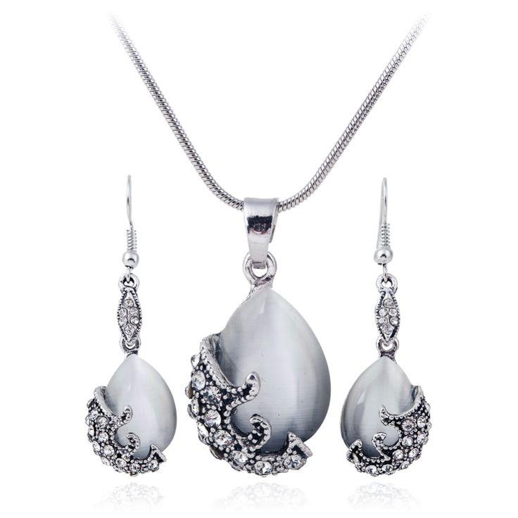 2016 Nueva Joyería de la Manera de Plata Llena Ópalo Cristalino de La Vendimia Collar Pendiente De La Boda Joyería Set for women XY-N596