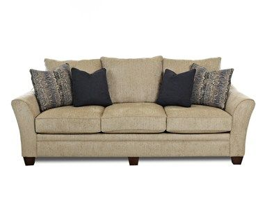 Shop for Klaussner Posen Wooten Sand Sofa, KL83844SWOOTSAND, and other Living Room Sofas at Woodstock Furniture in Acworth and Hiram Georgia. Create a room that exudes city style, no matter where you live. Relax and enjoy the view from the handsome Posen sofa. Over stuffed cushions, curvaceous track arms, and luxurious fabrics are temptations that cause you to linger for hours.