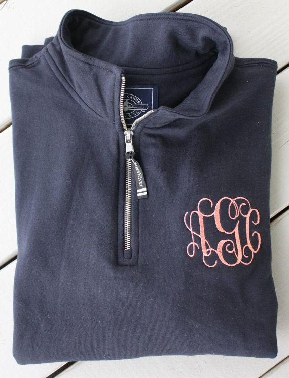 Monogrammed Quarter Zip Sweatshirt by GladevilleFarmhouse on Etsy with turquoise
