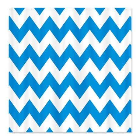 Chevron Blue and White Zig Zag 1 Shower Curtain #circusvalley