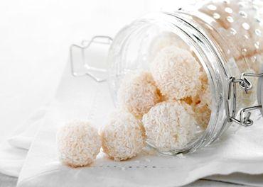 Hvide kokoskugler