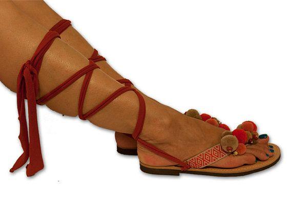 Gladiator Sandals, Lace up Sandals, Greek Sandals , Pom pom Sandals, Orange Red Flip Flop , Boho Sandals, Hippie Sandal, Leather Sandals