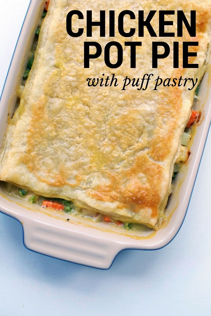 This Chicken Pot Pie recipe with Puff Pastry makes dinner TOO easy! Also, it's freezer friendly. | themillennialmenu.com