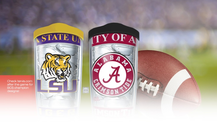 tervis tumbler's home page, in honor of the bcs game tomorrow... use code SLIVING to get 20% off bama or lsu gear!!