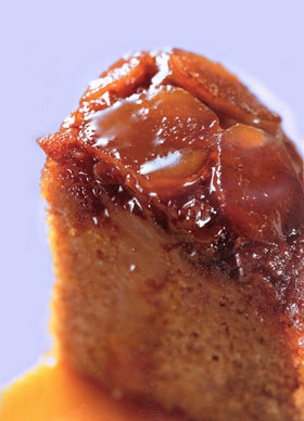 Ginger and Banana Sponge Pudding with Hot Toffee Sauce