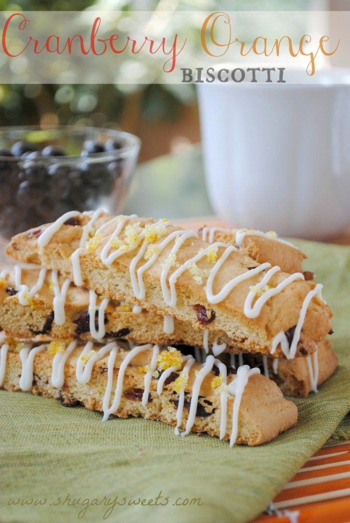 Cranberry Orange Biscotti- crunchy #biscotti with orange zest and #craisins: easy to make and perfect with coffee! www.shugarysweets.com