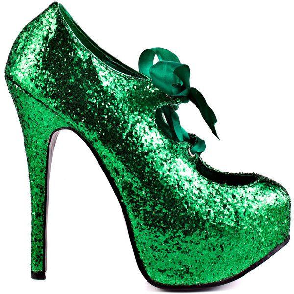 Viva Bordello Sin City - Green Glitter ($85) ❤ liked on Polyvore