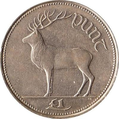 1990 Ireland 1 Pound Coin Irish Red Deer  Now that's money, unlike the stupid Monopoly money we currently have.  A tenner laster forever.