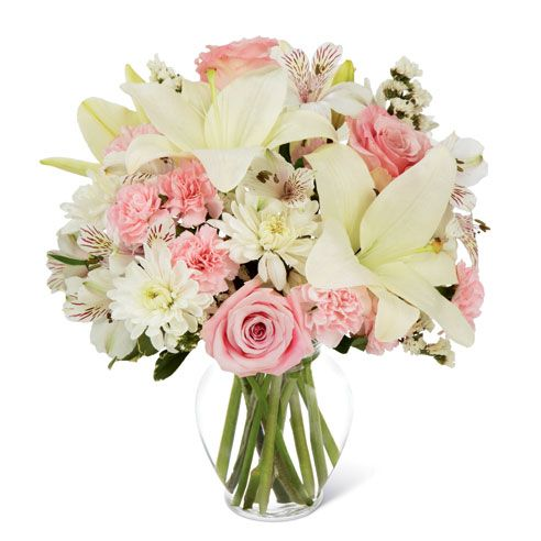 White lily delivery with cheap flowers, pink roses and lilies for cheap flower delivery