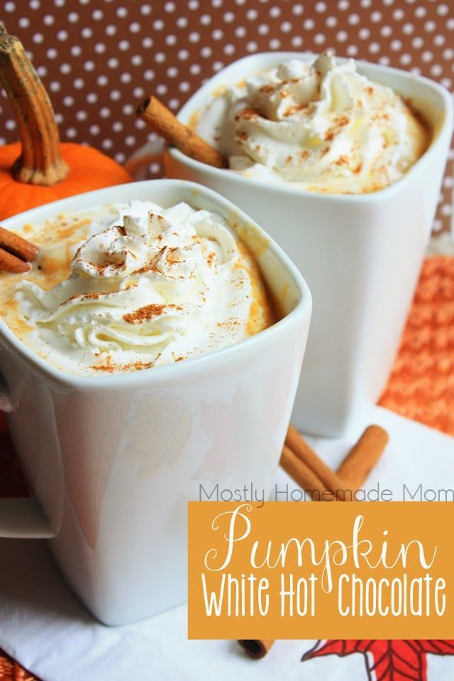 Pumpkin White Hot Chocolate - Pantry staple ingredients and REAL pumpkin simmer on the stove for this deliciously thick and decadent fall drink - set it on warm in a slow cooker for a party!