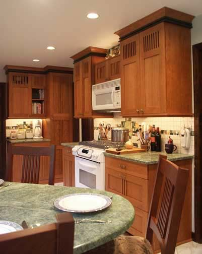 This arts and crafts inspired kitchen had no room for a for Arts and crafts kitchen table