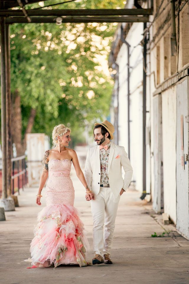 A funky bohemian wedding with incredible DIY details and a pink bejeweled gown for the bride // photos by Hartman Outdoor Photography: http://www.hartmanoutdoorphotography.com    see more on http://www.artfullywed.com