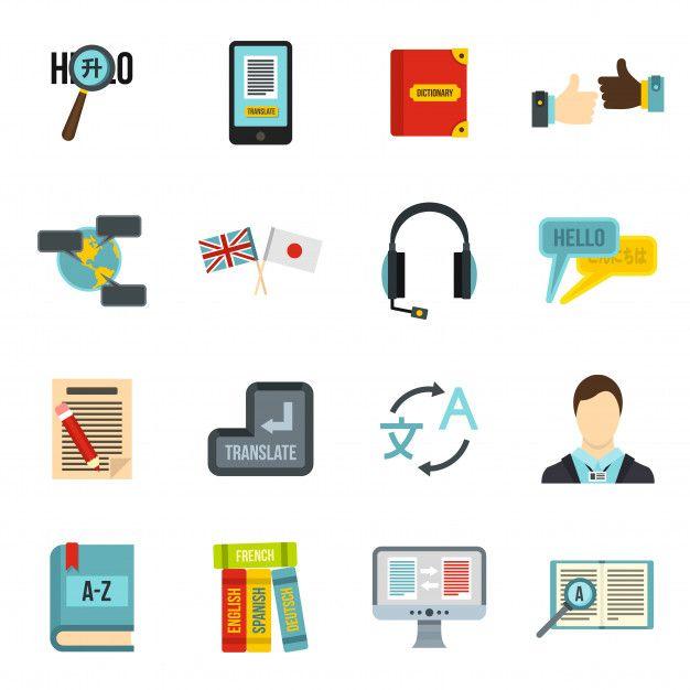 Learning Foreign Languages Icons Set Language Icon Foreign Language Learning Words In Different Languages
