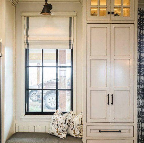 Modern Farmhouse Roman Shades Custom Off White Grey Stripe