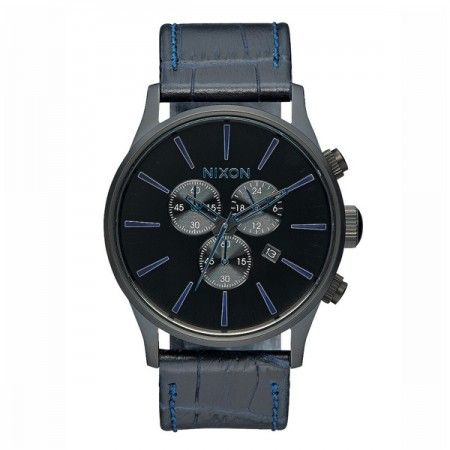 A4052153 Nixon Sentry Chrono Leather Navy Gator   Visit our store: www.watchworldindonesia.com
