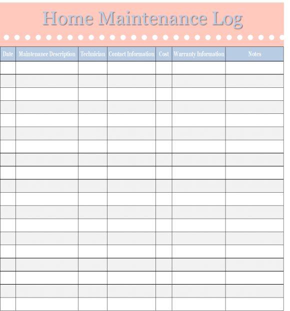 home maintenance log