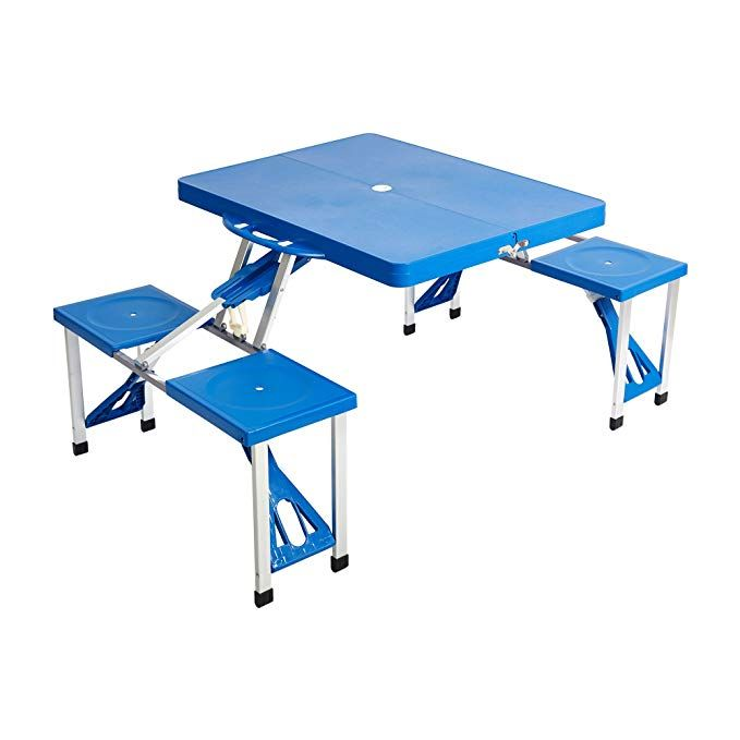 Lucky Tree Folding Outdoor Camp Suitcase Picnic Table 4 Seats 5 Piece Table And Benches Set With Carrying Case R Picnic Table Table And Bench Set Camping Table