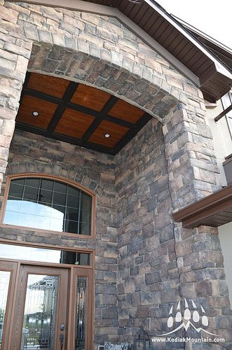 Another angle of the beautiful exterior work using Southern Hackett in Almond Buff. Check out our website for more information at www.KodiakMountain.com