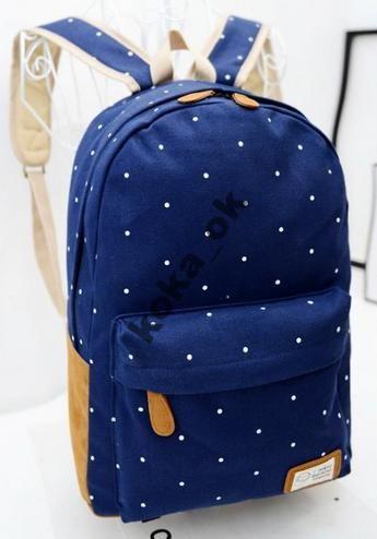 Рюкзак городской молодежный синий в белый горошек