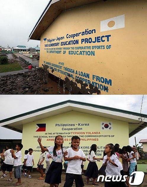 日本政府が学校の環境改善事業の一環として改装して建てたフィリピンの学校。その学校の外壁にはフィリピンの国旗と日の丸が描かれていたが、韓国アラウ部隊により太極旗に書き換えられてしまったのだ。  これらの学校は昨年11月の台風により8棟が崩壊。これを改修したアラウ部隊(아라우 부대)が外壁に描かれていた日本の日の丸を太極旗に書き換えてしまったのだ。
