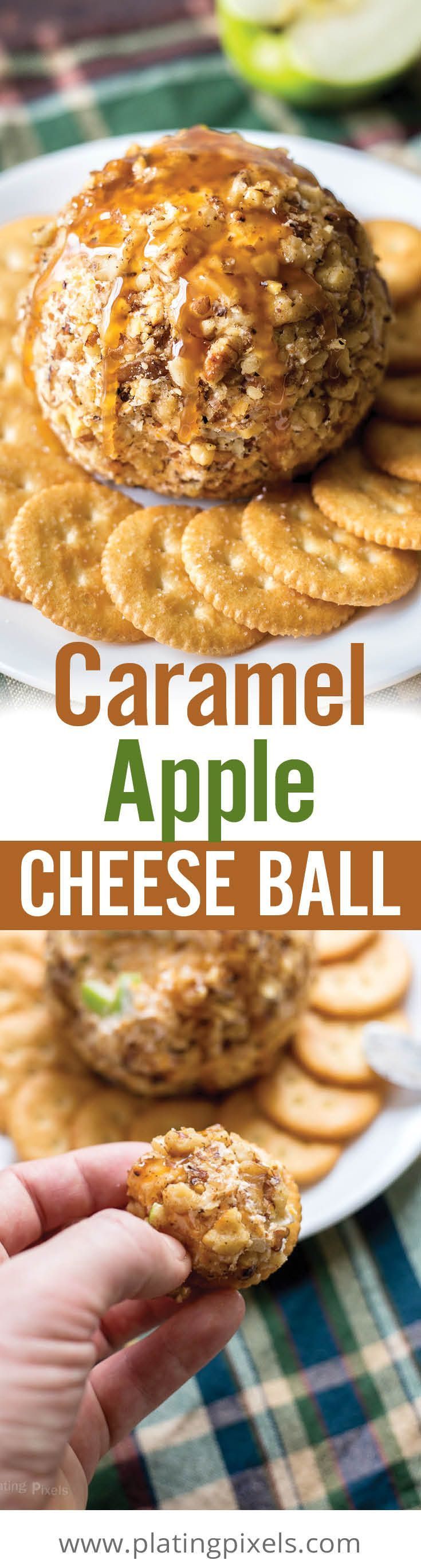 Caramel apple cheese ball makes a quick and easy holiday appetizer. Simply mix cream cheese, sharp cheddar, green apple, nutmeg and caramel; then serve over crackers. [ad] #HolidayRITZ - www.platingpixels.com