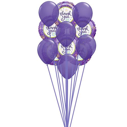 sending purple balloons with thank you balloons shows symbol of beautifull heart.